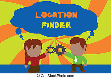 Text sign showing Location Finder. Business photo showcasing A service featured to find the address of a selected place Standing young couple sharing gear. Man tie woman skirt commerce relation