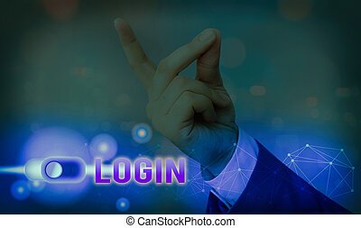 Text sign showing Login. Business photo showcasing process by which an individual gains access to a computer system