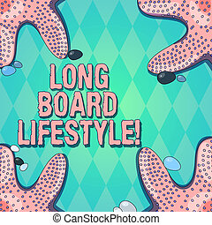 Text sign showing Long Board Lifestyle. Conceptual photo Getting hooked with a longboard sports equipment Starfish photo on Four Corners with Colorful Pebbles for Poster Ads Cards.