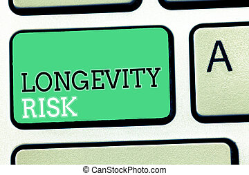 Text sign showing Longevity Risk. Conceptual photo Potential threat due to increasing lifespan of pensioners