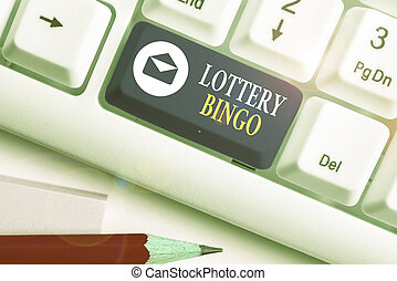 Text sign showing Lottery Bingo. Conceptual photo game of chance in which each player matches numbers printed.