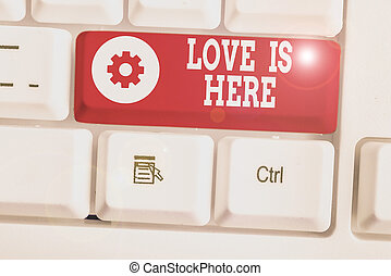 Text sign showing Love Is Here. Conceptual photo ...