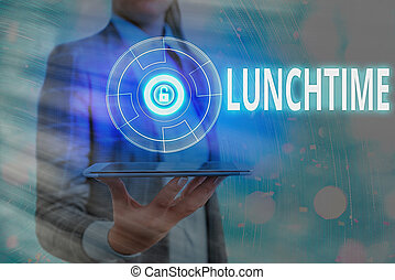 Text sign showing Lunchtime. Conceptual photo the time at ...