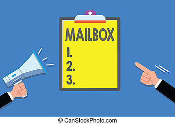 Text sign showing Mailbox. Conceptual photo Box mounted on post where mail is delivered Computer file for email