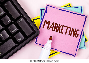 Text sign showing Marketing. Conceptual photo Advertising Selling products from a company To promote something written on Pink Sticky Note paper on plain background Marker and Black Keyboard.