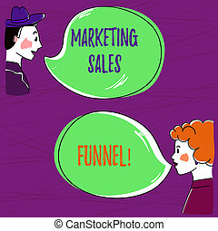 Text sign showing Marketing Sales Funnel. Conceptual photo Visual representation of the customer journey Hand Drawn Man and Wo analysis Talking photo with Blank Color Speech Bubble.