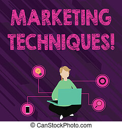 Text sign showing Marketing Techniques. Conceptual photo...