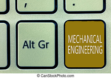 Text sign showing Mechanical Engineering. Conceptual photo deals with Design Manufacture Use of Machines