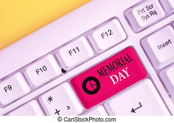 Text sign showing Memorial Day. Conceptual photo remembering the military demonstratingnel who died in service White pc keyboard with empty note paper above white background key copy space.