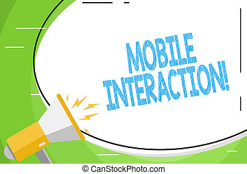 Text sign showing Mobile Interaction. Conceptual photo the interaction between mobile users and computers Blank White Huge Oval Shape Sticker and Megaphone Shouting with Volume Icon.