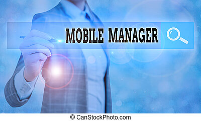 Text sign showing Mobile Manager. Conceptual photo monitor, ...