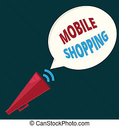 Text sign showing Mobile Shopping. Conceptual photo Buying and selling of goods and services through mobile