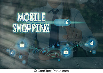 Text sign showing Mobile Shopping. Conceptual photo Buying ...