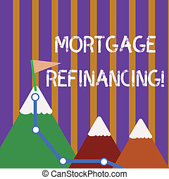 Text sign showing Mortgage Refinancing. Conceptual photo process of replacement of an existing debt obligation Three Mountains with Hiking Trail and White Snowy Top with Flag on One Peak.