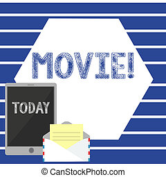Text sign showing Movie. Business photo showcasing Cinema or television film Motion picture Video displayed on screen Open Envelope with Paper and Blank Tablet Screen on Colorful Blank Space