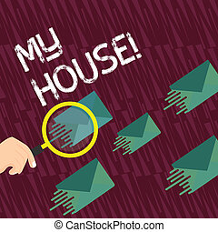 Text sign showing My House. Conceptual photo place you can feel comfortable cooking living and sleeping in Magnifying Glass on One Different Color Envelope and others has Same Shade.