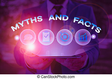 Text sign showing Myths And Facts. Conceptual photo ...