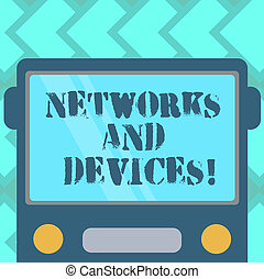 Text sign showing Networks And Devices. Conceptual photo used to connect computers or other electronic devices Drawn Flat Front View of Bus with Blank Color Window Shield Reflecting.
