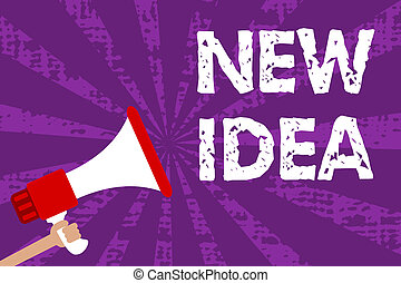 Text sign showing New Idea. Conceptual photo A thought or conception refer to a product of mental activity Grunge Megaphone loudspeaker loud screaming scream talk rays speech.