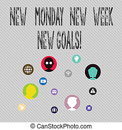 Text sign showing New Monday New Week New Goals. Conceptual photo goodbye weekend starting fresh goals targets Networking Technical Icons with Chat Heads Scattered on Screen for Link Up.