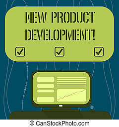 Text sign showing New Product Development. Conceptual photo Process of bringing a new product to the marketplace Mounted Computer Screen with Line Graph on Desk Blank Color Text Box.