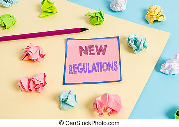 Text sign showing New Regulations question. Conceptual photo rules made government order to control way something is done.