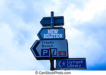 Text sign showing New Solution. Conceptual photo Modern Innovation Latest effective approach to a problem Empty street signs on the crossroads with blank copy space.