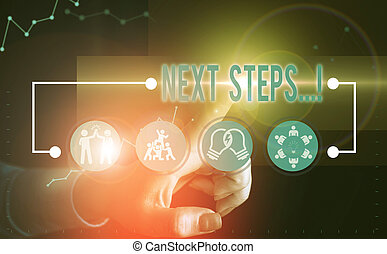 Text sign showing Next Steps. Business photo text something you do after you have finished doing first one