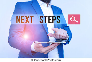 Text sign showing Next Steps. Conceptual photo something you do or plan after you ve finished something else Businessman with pointing finger in front of him.
