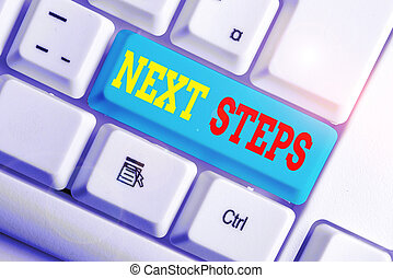 Text sign showing Next Steps. Conceptual photo something you do or plan after you ve finished something else White pc keyboard with empty note paper above white background key copy space.