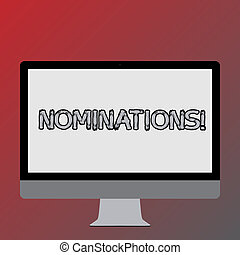 Text sign showing Nominations. Conceptual photo action of nominating or state being nominated for prize Blank White Computer Monitor WideScreen Mounted on a Stand for Technology.