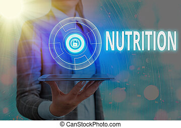 Text sign showing Nutrition. Business photo text act or process of nourishing or being nourished by nutrients Graphics padlock for web data information security application system
