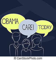 Text sign showing Obama Care. Conceptual photo Government Program of Insurance System Patient Protection.