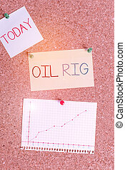 Text sign showing Oil Rig. Conceptual photo large structure with equipment to remove oil from under the seabed Corkboard color size paper pin thumbtack tack sheet billboard notice board.