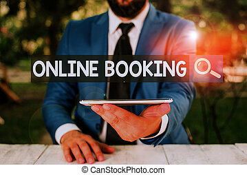 Text sign showing Online Booking. Conceptual photo tool used...