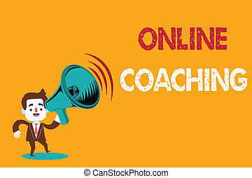 Text sign showing Online Coaching. Conceptual photo Learning...