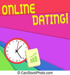 Text sign showing Online Dating. Conceptual photo practice of searching for a roanalysistic partner on the Internet Layout Wall Clock Notepad with Escalating Bar Graph and Arrow Pointing Up.