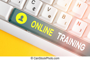 Text sign showing Online Training. Conceptual photo certain ...