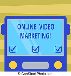 Text sign showing Online Video Marketing. Conceptual photo Engaging video into the marketing campaigns Drawn Flat Front View of Bus with Blank Color Window Shield Reflecting.