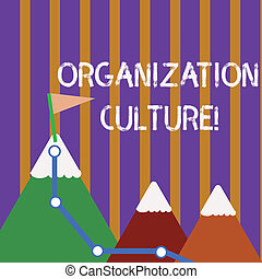 Text sign showing Organization Culture. Conceptual photo social and psychological environment of an organization Three Mountains with Hiking Trail and White Snowy Top with Flag on One Peak.