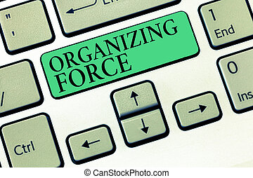 Text sign showing Organizing Force. Conceptual photo being United powerful group to do certain actions