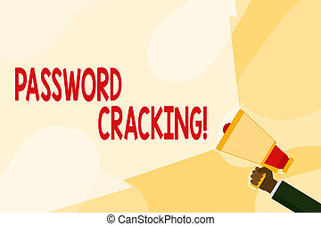 Text sign showing Password Cracking. Conceptual photo measures used to discover computer passwords from data Hand Holding Megaphone with Blank Wide Beam for Extending the Volume Range.