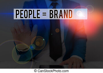 Text sign showing People Brand. Business photo text Personal Branding Defining demonstratingality through the labels