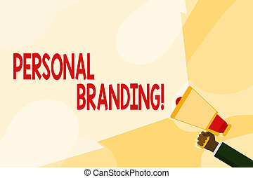 Text sign showing Personal Branding. Conceptual photo process of creating a recognizable professional name Hand Holding Megaphone with Blank Wide Beam for Extending the Volume Range.