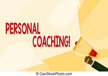 Text sign showing Personal Coaching. Conceptual photo relationship agreement between a client and a coach Hand Holding Megaphone with Blank Wide Beam for Extending the Volume Range.