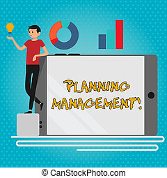 Text sign showing Planning Management. Conceptual photo act or process of making or carrying out plans Man Leaning on Blank Smartphone Turned on Its Side with Graph and Idea Icon.