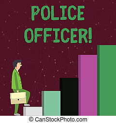 Text sign showing Police Officer. Conceptual photo a demonstrating who is an officer of the law enforcement team Businessman Carrying a Briefcase is in Pensive Expression while Climbing Up.