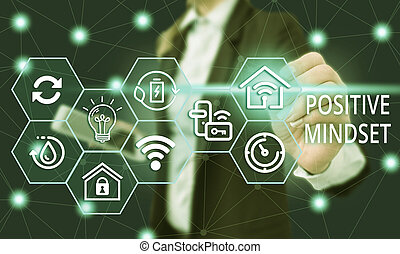 Text sign showing Positive Mindset. Conceptual photo mental attitude in wich you expect favorable results Female human wear formal work suit presenting presentation use smart device.