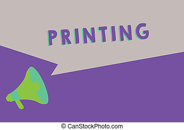 Text sign showing Printing. Conceptual photo production of books newspapers or other printed material Hard copy