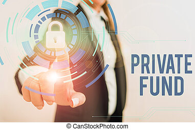 Text sign showing Private Fund. Conceptual photo collective investment scheme used for making investments Female human wear formal work suit presenting presentation use smart device.